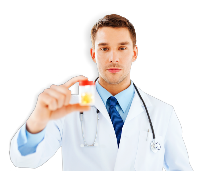 pharmacist holding a bottle of medicines