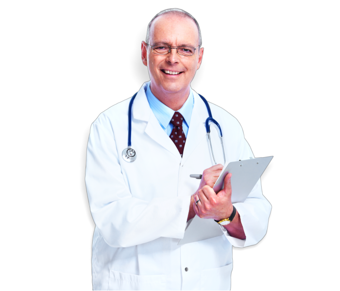 man wearing stethoscope and holding pad
